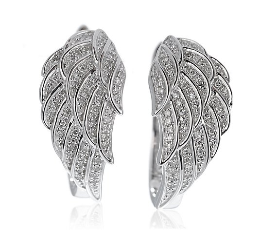 0.25ct Diamond Angel Wing Huggie Earrings Sterling Silver