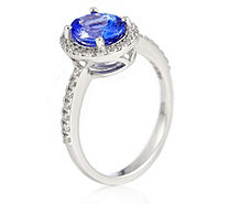 1.50ct AAAA Tanzanite 0.30ct Diamond Halo Ring 18ct Gold - 340669