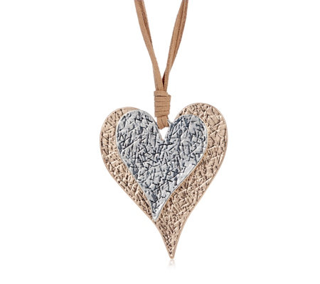 Frank Usher Textured Heart Pendant 80cm Necklace