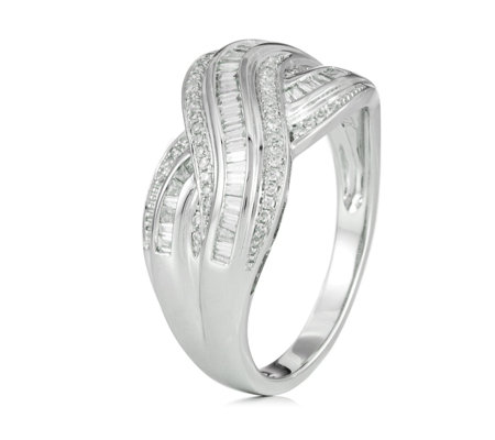 0.33ct Diamond Baguette Wave Band Ring 9ct Gold