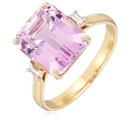 7.00ct Kunzite Octagon & 0.10ct Diamond Ring 9ct Gold
