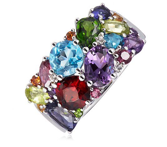 4.00ct Multi Gemstone Band Ring Sterling Silver