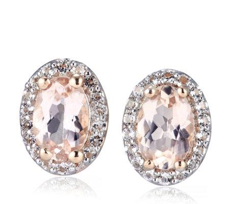0 82ct Morganite Halo Stud Earrings Sterling Silver Rose Gold Vermeil