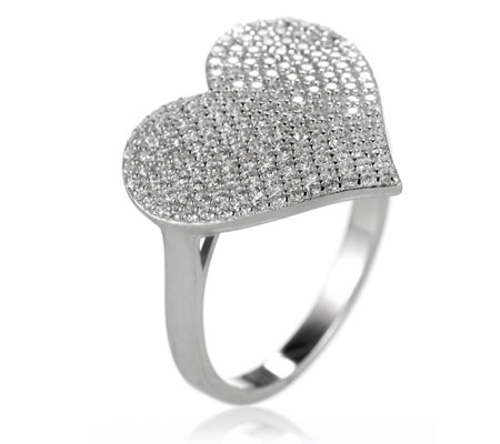 Diamonique 1.3ct tw Pave Heart Ring Sterling Silver