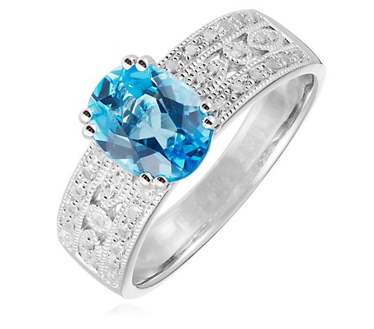 1.70ct Blue Topaz 0.30ct White Topaz Accent Ring Sterling Silver