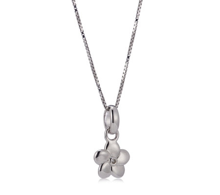 D for Diamond Flower Pendant & 35.5cm Chain Sterling Silver