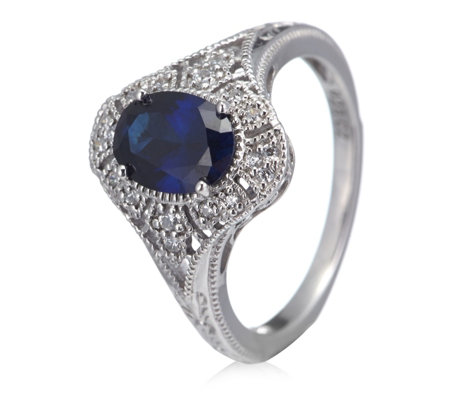 Diamonique 0.8ct tw Simulated Sapphire Vintage Style Ring Sterling Silver
