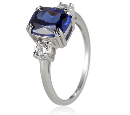 Diamonique 6.6ct tw Simulated Tanzanite Cocktail Ring Sterling Silver