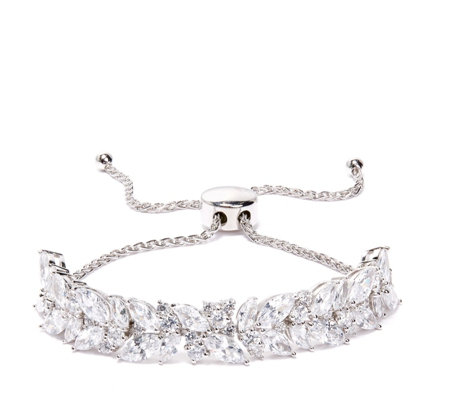 Diamonique 9.1ct tw Marquise & Round Friendship Bracelet Sterling Silver