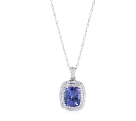 2.15ct AAA Tanzanite & 0.30ct Diamond Halo 45cm Necklace 18ct Gold