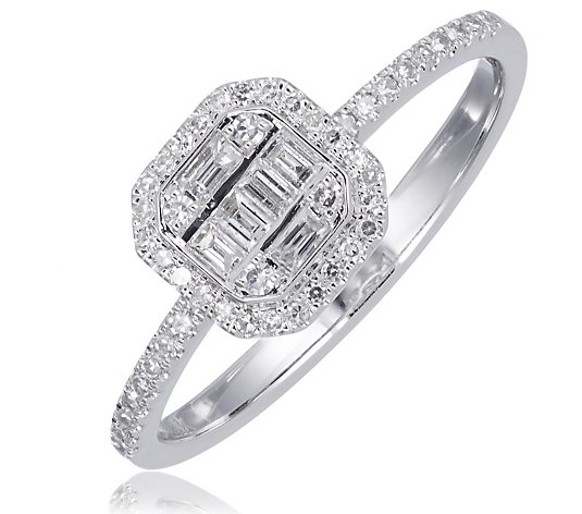 0.33ct Diamond Mixed Cut Cushion Shape Ring 14ct Gold