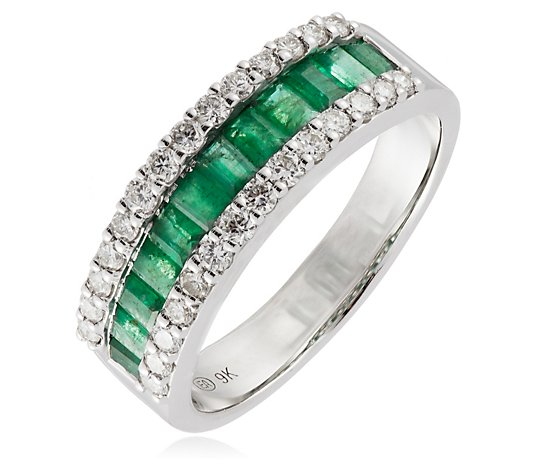 1.00ct Emerald & 0.50ct Diamond Eternity Band Ring 9ct Gold