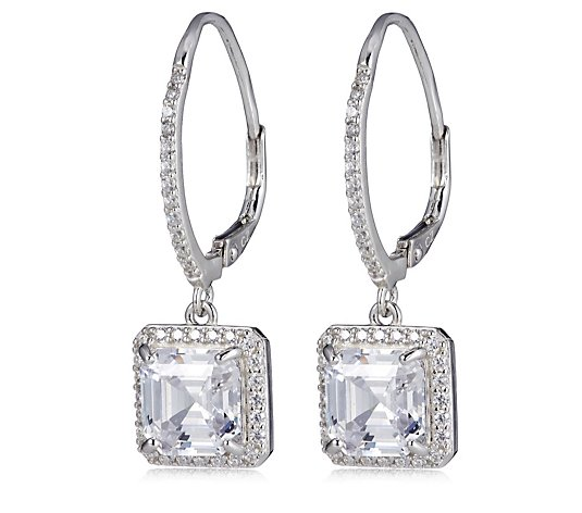 Diamonique 6.7ct tw Asscher Cut Leverback Earrings Sterling Silver