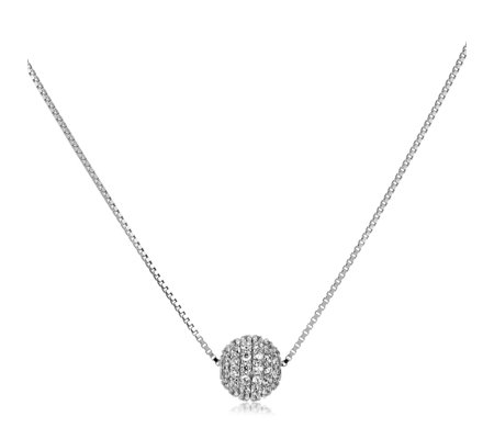 Diamonique 2.2ct tw Pave Ball Necklace Sterling Silver