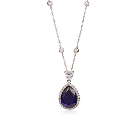 Dale Franklin for Diamonique 30ct tw Simulated Tanzanite Enhancer Necklace