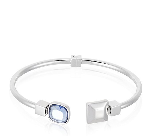 Duo Cuff Bangle with Gemstone and Plain Charm Sterling Silver