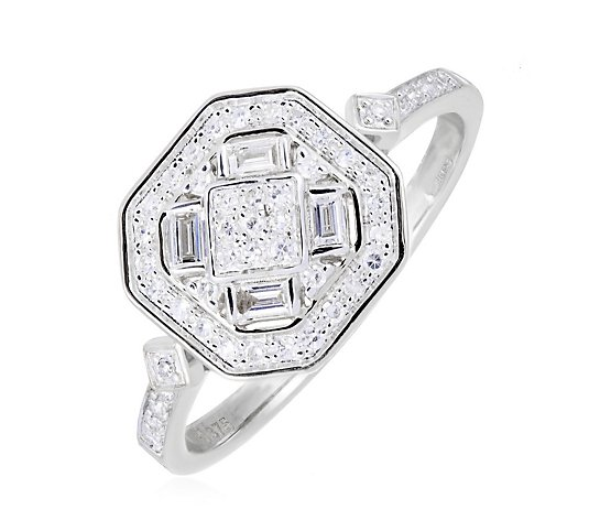0.30ct Diamond Estate Collection Deco Style Ring 9ct Gold