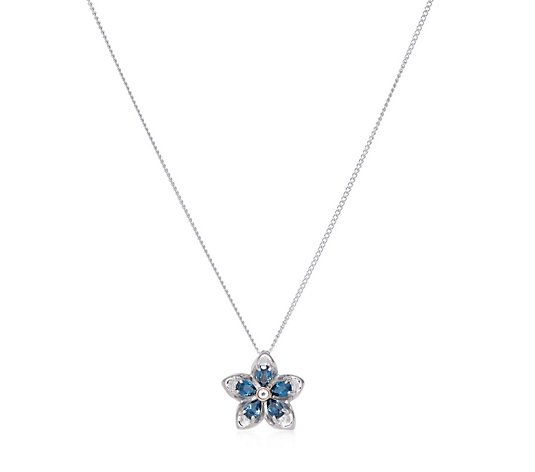 Clogau Blue Topaz Forget Me Not 45cm Necklace Sterling Silver