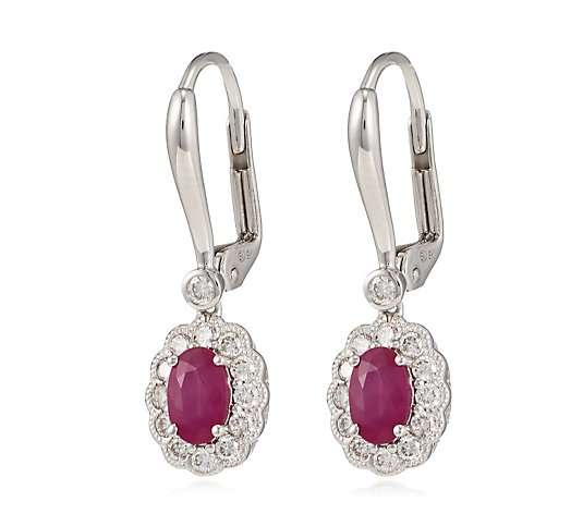 1.00ct Oval Ruby & 0.41ct Diamond Estate Collection Leverback Earrings 9ct Gold