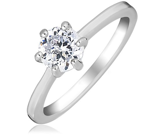 Diamonique 0.9ct tw 100 Facet Solitaire Ring Sterling Silver