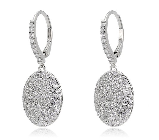 Diamonique 1.5ct tw Pave Oval Earrings Sterling Silver