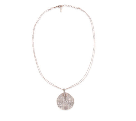 Loverocks Waved Disc Pendant 44cm Necklace with 5cm Extender
