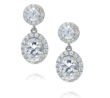 Michelle Mone for Diamonique 5.8ct tw Oval Drop Earrings Sterling Silver
