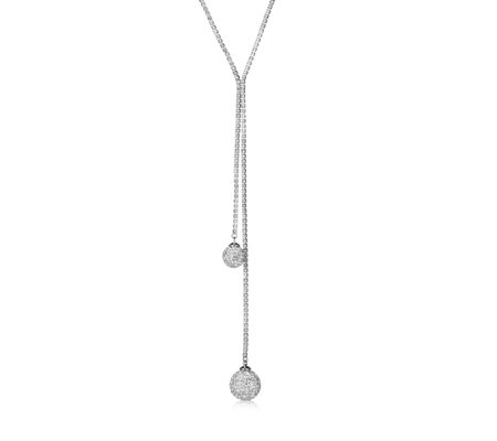 Loverocks Crystal Snowball Lariat Necklace
