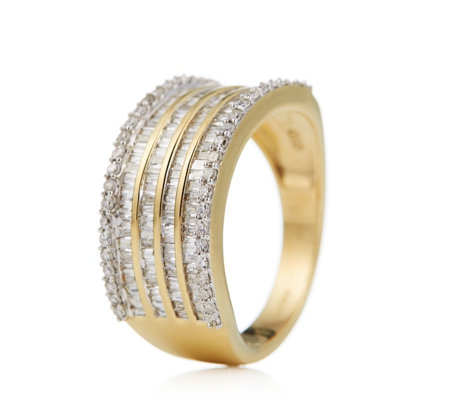 1.00ct Diamond Mixed Cut Band Ring 9ct Gold