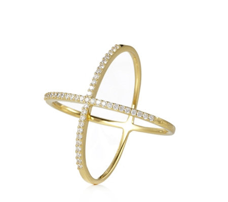 Adorn by Diamonique 0.4ct tw Cross Over Ring Sterling Silver