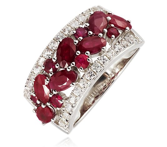 2.50ct Ruby & White Sapphire Band Ring Sterling Silver