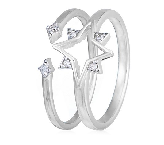 Ophia Stargazing Set of 2 Stack up Rings Sterling Silver
