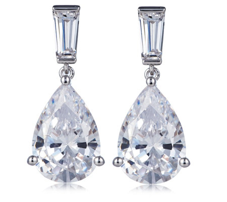 Michelle Mone for Diamonique 13.2ct tw Pear Cut Earrings Sterling Silver