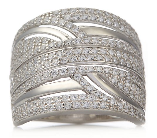 Diamonique 3.2ct tw Crossover Band Ring Sterling Silver