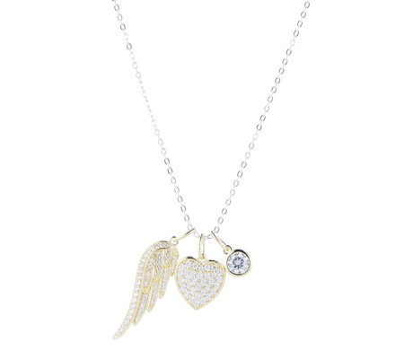 Diamonique 1.1ct tw Angel Wing Charm Pendant & Chain Sterling Silver