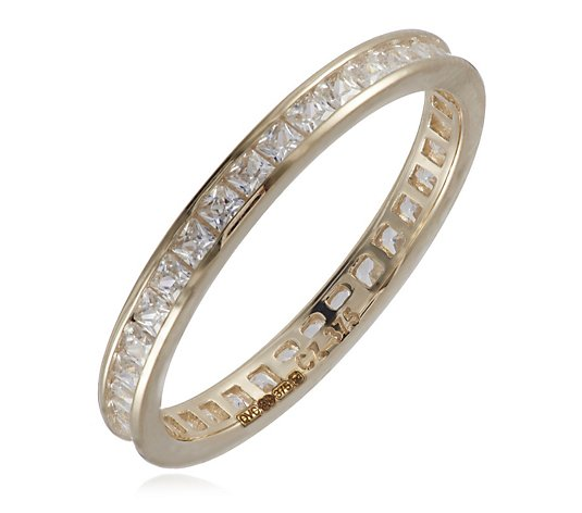 Diamonique 0.7ct tw Princess Cut Eternity Ring 9ct Gold