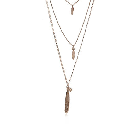 Bibi Bijoux Triple Row Feather 72cm Necklace