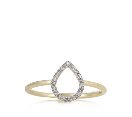 Lisa Snowdon Diamond Teardrop Ring Sterling Silver