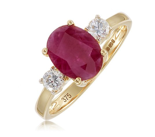 2ct Ruby & 0.2ct Diamond 3 Stone Ring 9ct Gold