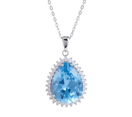 Diamonique by Tova 17ct tw Simulated Aquamarine Pendant & Chain Sterling Silver