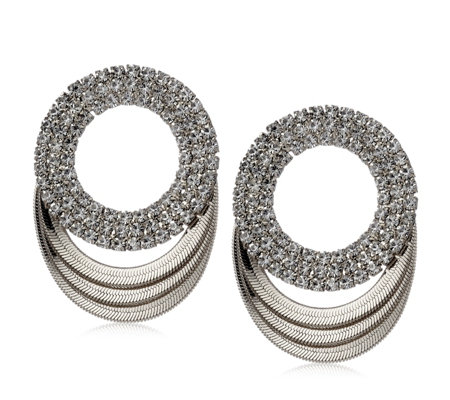 Frank Usher Crystal Double Circle Earrings