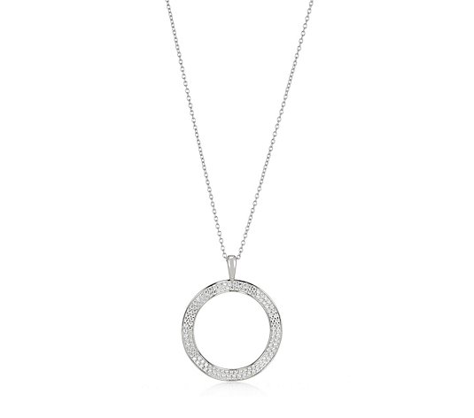 Diamonique 0.7ct tw Organic Circle Pendant & 70cm Chain Sterling Silver
