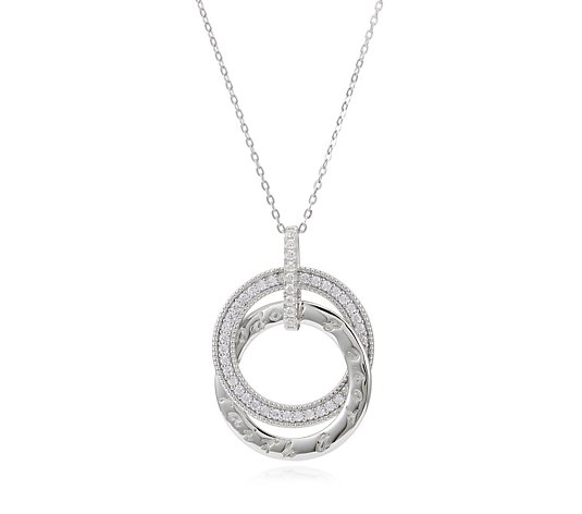 Diamonique 0.4ct tw Entwined Circle Message Pendant & Chain Sterling Silver