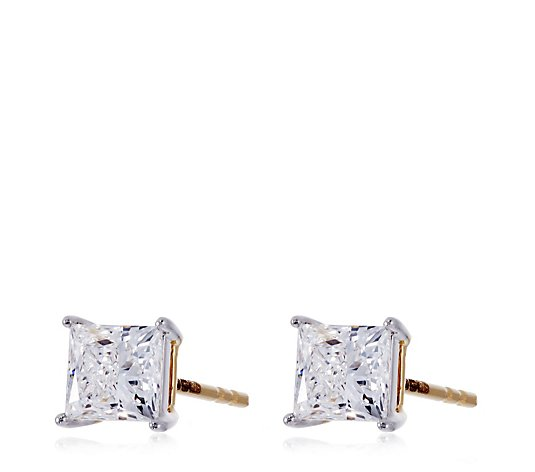 0.80ct H SI2 Fire Light Lab Grown Diamond Princess Cut Stud Earring 18ct Gold