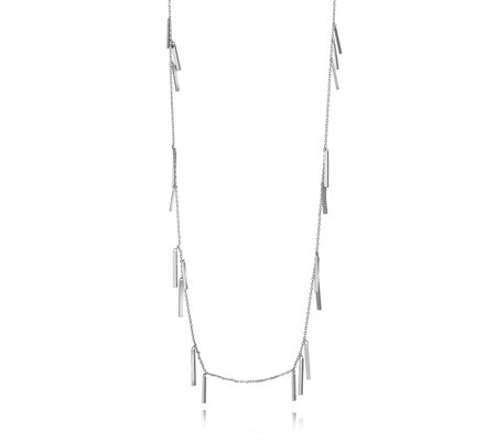 French Connection Rectangle Bar Fringe Illusion Necklace