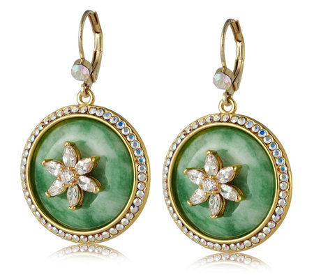Butler & Wilson Jade Circle Flower Earrings