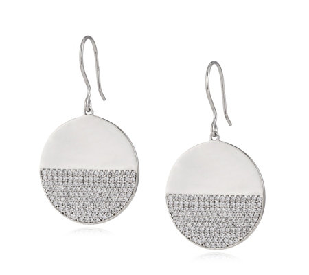 K by Kelly Hoppen Capri Collection Half Pave Disc Earrings Sterling Silver