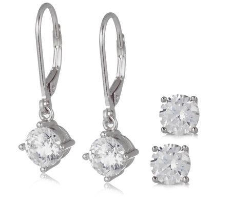 468f4ff1c Diamonique 4ct tw Leverback & Stud Earrings Sterling Silver with Travel Box