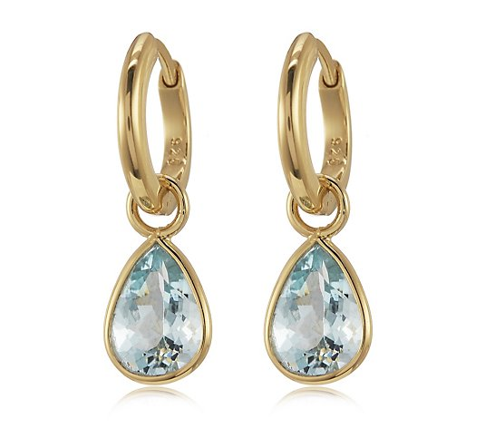 2.00ct Aquamarine Pear Drop Charm Earrings Sterling Silver
