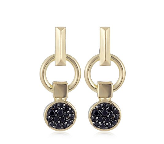 Duo Black Spinel Pave Charm Stud Earrings Sterling Silver